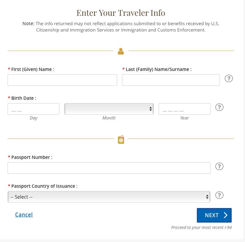 formulário I-94 para viagem